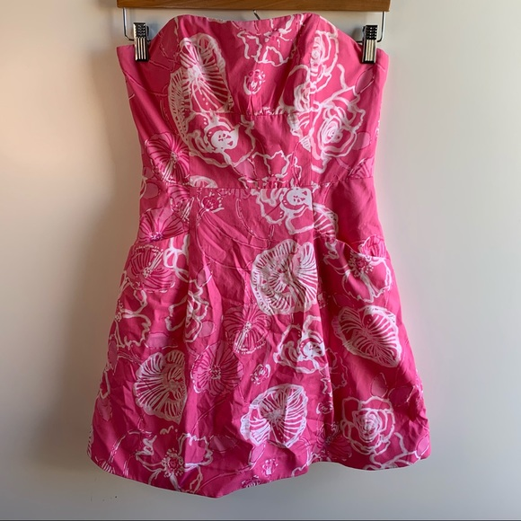 Lilly Pulitzer Pink Bloom Strapless Dress Size 2